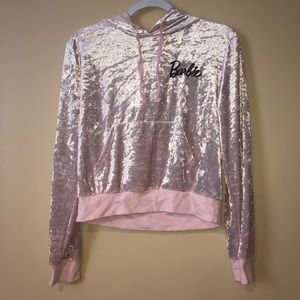 Soft Light Pink Reflective Cropped Barbie Hoodie